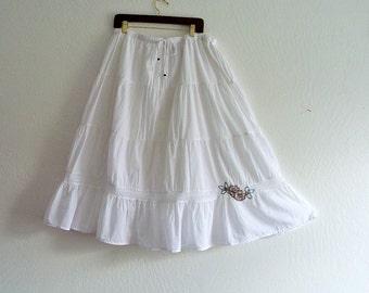 Plus Size White Tiered Skirt. Cotton Lace Boho Maxi Skirt