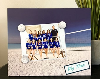 Volleyball Beach Sport coach team college champion Girls Boys Picture Frame Magnetic Gift Home Decor Photo 5 x 7 9 x 11 -Dig This Beach
