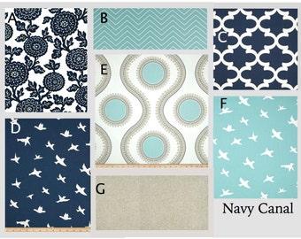 Custom Baby Crib Bedding- Design Your Own Modern Baby Bedding- Navy and Light Blue