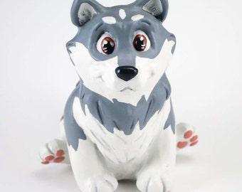 Husky Dog Figurine-Silver