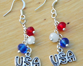July 4th earrings 4th of July earrings USA Earrings red white and blue earrings Swarovski Crystal earrings USA patriotic earrings American