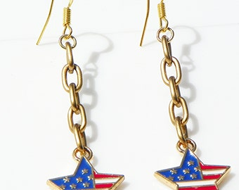 Star Earrings Flag Earrings USA Flag earrings red white and blue earrings patriotic earrings long earrings dangle earrings USA star earrings