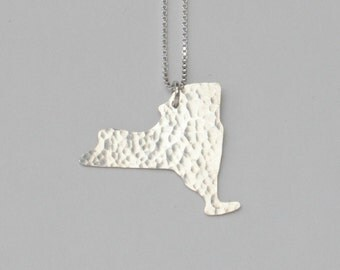 New York Necklace. Custom Silver State Giants Map Charm. New York Rangers Art Pendant. New York City Outline Yankees Jewelry.
