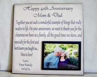Anniversary Picture Frame Gift, 40th Anniversary, 30th Anniversary, Mom and Dad, Anniversary Gift for Parents, Anniversary Gift Idea