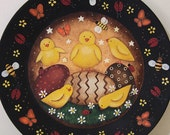 Easter Folk Art Hand Painted Primitive Wood Plate  MADE TO ORDER Spring Plate Decorated Eggs Chicks Butterflies Ladybugs Honey Bees Daisies