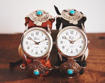 CWC-09, handmade adjustable cuff watch with repurposed vintage thunderbird concho