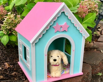 American Girl doll pets: large doll dog house minty green whimsy. Ready to ship.
