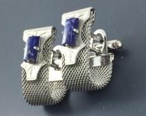 Vintage Blue lapis Cuff Links. Anson Modernist Cufflinks. Blue Mesh Cufflinks. Formal Wear. Wedding . No.002090