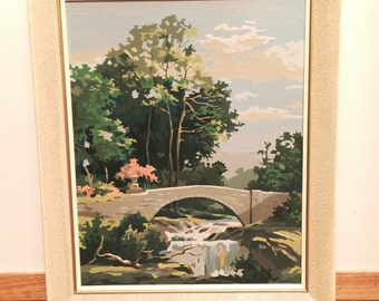 Waterfall Bridge  Paint By Number -   Waterfall Painting - Vintage - 60s decor - shabby chic paintbynumber No.101 cs