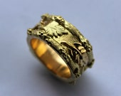 Reserved for Chantal - Balance due on 18k yellow 18k  green gold custom ring-grape leaves,clusters,wheat shafts 19.2 gr.size 6.5-balance due