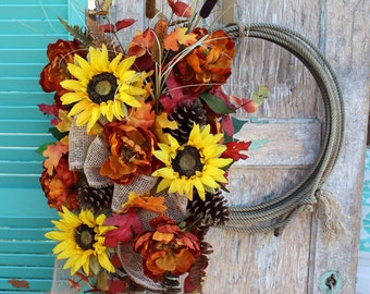 Fall Sunflower and Peonies Western Lasso Wreath Rope Wreath with burlap bow / yellow and burnt orange autumn flowers o6 Cowboy Lariat