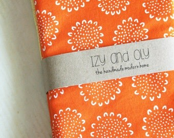 Orange with Flowers - Set of 4 Dinner Size Napkins with Yellow Reverse Side
