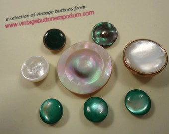 Vintage buttons - green and white pearl dress buttons etc, metal shanks (Ref R05)
