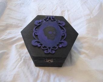 Gothic Victorian Black And Dark Purple Framed Skull Hexagon Keepsake Box