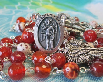 Handmade Catholic Rosary, 8mm Faceted Carnelian Dark Orange Fire Agate Gemstone Beads, Guardian Angel Center, Framed Crucifix, Wings Charm