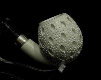 Full Bent Lattice Apple Block Meerschaum pipe Oom Paul Acrylic Silver Ring 2401