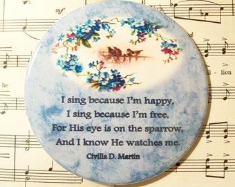 His Eye is on the Sparrow, Christian Pocket Mirror or Magnet, 3.5 Inch Christian Cosmetic Mirror - Gift for Christian Women - Religious Gift