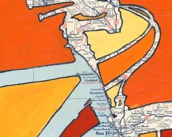 Bike San Diego -- large print 13x13  featuring Coronado, La Mesa, Oceanside, Ocean Beach, La Jolla, California bicycle art print