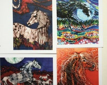 Horse Batik cards set  2nd edition   -  Horse farm series   -   Set of four blank cards