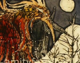Unicorn and Phoenix - batik print from original - myths - spiritual art