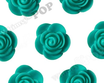 20mm - Large Teal Green Begonia Cabochons, Flower Cabochons, Flower Cabs, Flower Resin Flatbacks, Flower Embellishments, 20mm (R7-051)