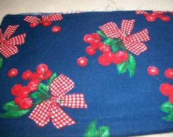 Daisy Kingdom Cherries All Over Blue Cotton Fabric