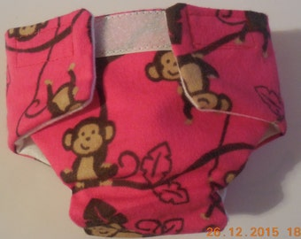 Doll diaper #3 READY TO SHIP  Cloth adjustable washable smiling monkey Baby Cloth doll diaper fits cabbage patch bitty baby and more