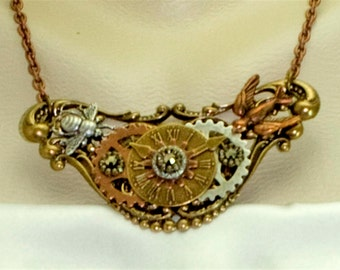 Vintage Steampunk Art Deco Gears & Insects Rhinestone Statement Necklace