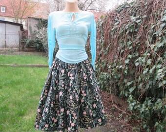 Cotton Full Skirt Vintage / Side Pockets / Size EUR42 / UK14