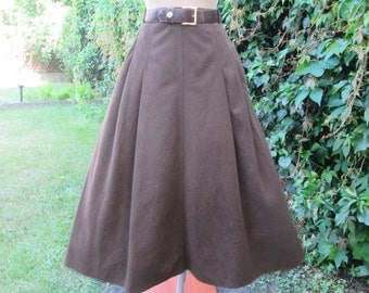 A Line Skirt / Skirt Vintage / Size EUR42 / UK14 / Brown Skirt / Midi / Pockets