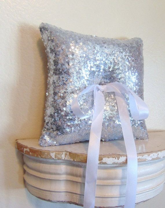 Silver Sequin Ring Bearer Pillow, Silver Ring Bearer Pillow, Silver Wedding Decor, Sequin Pillow, Metallic, Silver Wedding Decor SILVER DUST
