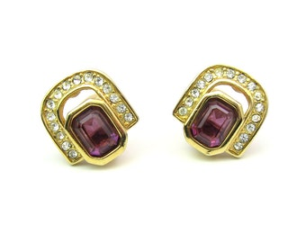 Christian Dior Earrings. Octagonal Amethyst Purple Glass, Rhinestones, Gold Tone. Clip Earrings. 1980s Vintage Designer Jewelry