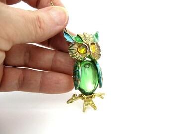 Rhinestone Owl Brooch. Glowing Green Glass, Yellow Cabochon Eyes, Enamel, Pavé Rhinestones. Signed ART. Vintage 1960s Fall Jewelry