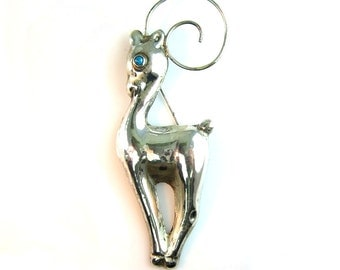 Mexican Silver Brooch. Deer, Gazelle. Vintage 1940s Art Deco Sterling Silver Jewelry. Turquoise Eye. Statement Figural Brooch