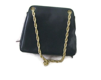 Navy Jackie O style gold chain handbag, tailored taffeta interior