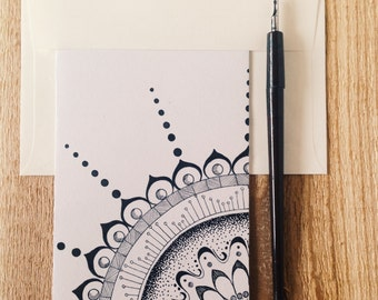 Delicate Mandala Card, Stationary card, handmade card, mandala card, greeting card, blank card