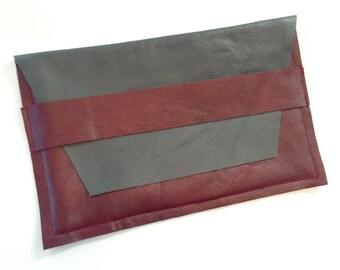 Grey Burgundy: Leather Clutch