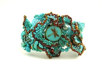Turquoise jewelry, Dragonfly jewelry, Beaded bracelet, Gift for women, Dragonfly gift, Freeform beadwork