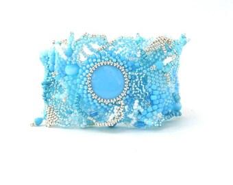 Fresh blue bracelet Blue Jewelry Boho Bracelet Gifts for her  Beaded bracelet Freeform peyote bracelet Gift for women