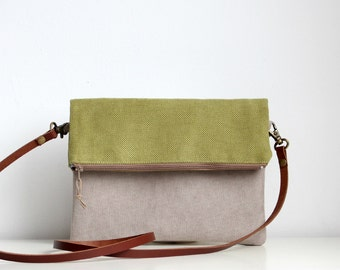 Foldover crossbody bag, Every day purse,  Handbag, Leather strap, Green