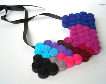 Felt Bib Necklace - Statement Necklace - Blue Pink Red Grey Black Felt Necklace OOAK - Eco-friendly