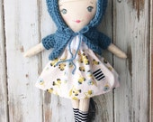 Skye ~ SpunCandy Classic Doll, Heirloom Quality Doll, Modern Rag Doll, Nursery Decor, Kids Decor, Fabric Doll, Cloth Doll, Handmade Doll