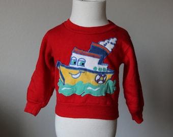 Baby Boys 12 Month Tugboat Boat Red Vintage Sweatshirt
