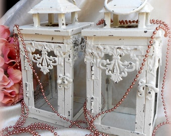"Set of 2 Distressed Ivory 8.5"" tall Lanterns-Cottage Decor,Shabby Chic,Custom Colors Free,Outdoor wedding,Shabby Rococo,Vintage Lantern"