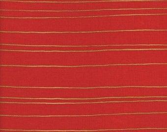 Fruit Dots Gold Stripe in Orange Metallic, Melody Miller, Cotton+Steel, RJR Fabrics, 100% Cotton Fabric, 0031-3