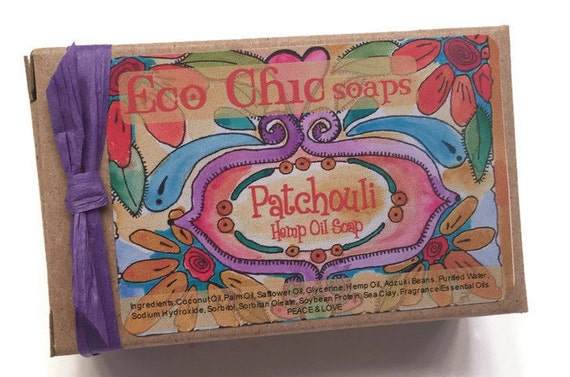 Patchouli Hemp Oil Handmade Soap - Gift Wrapped TOO!