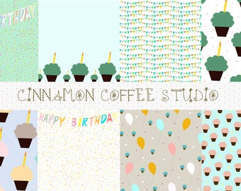 Happy Birthday Digital Papers, Happy Birthday Banner, Cupcakes, Balloons, Blue, Mint, Birthday Party Texture, Birthday Backgrounds