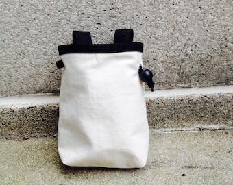 RESERVEDchalk bag, blank canvas DREAM it UP rock climbing chalk bag --made to order.