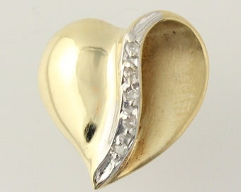 Heart Pendant - 10k Yellow Gold Brushed Polished Love Diamond Accents Women's y9592
