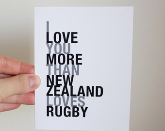 Fathers Day Sale Rugby Card, I Love You More Than New Zealand Loves Rugby, A2 Size Greeting Card